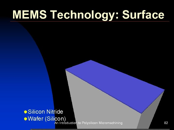 MEMS Technology: Surface ®Silicon Nitride ®Wafer (Silicon) An Introduction to Polysilicon Micromachining 82