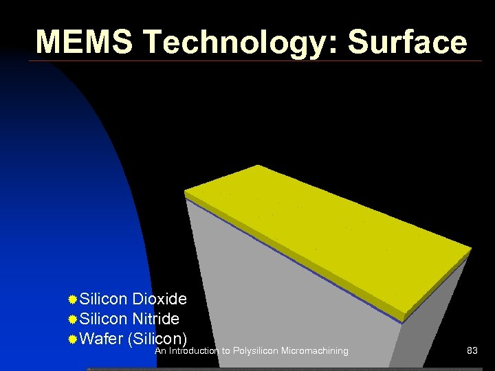 MEMS Technology: Surface ®Silicon Dioxide ®Silicon Nitride ®Wafer (Silicon) An Introduction to Polysilicon Micromachining