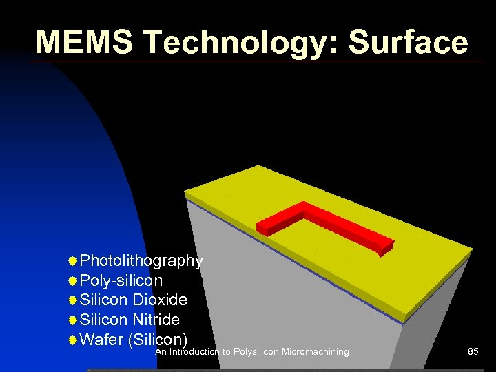 MEMS Technology: Surface ®Photolithography ®Poly-silicon ®Silicon Dioxide ®Silicon Nitride ®Wafer (Silicon) An Introduction to