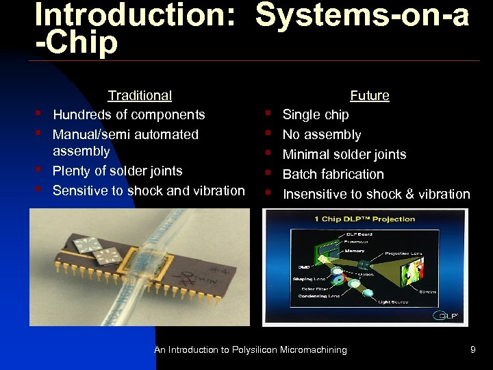 Introduction: Systems-on-a -Chip § § Traditional Hundreds of components Manual/semi automated assembly Plenty of