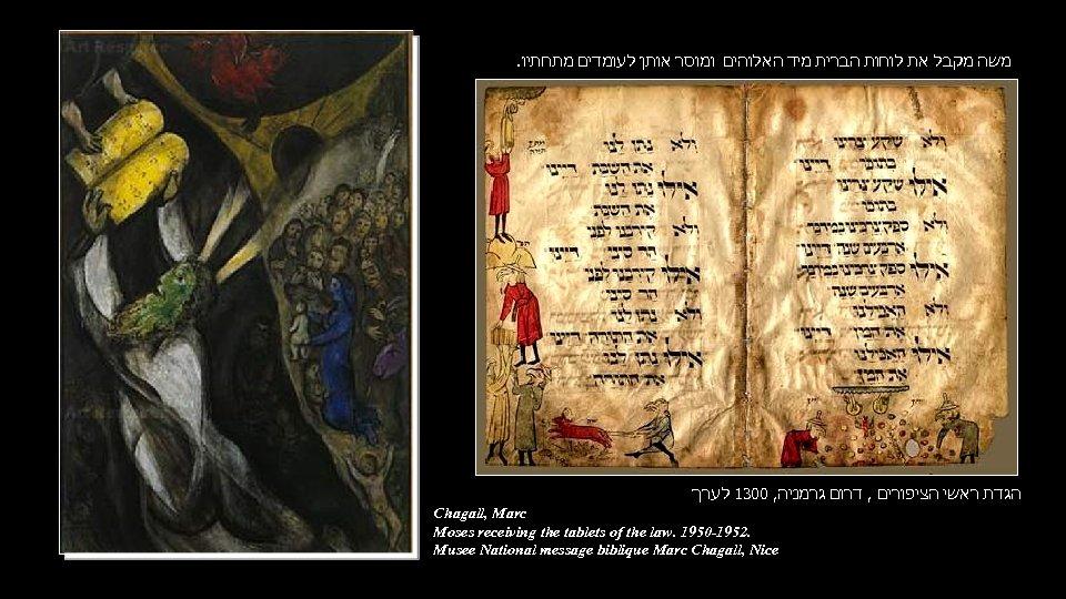 . משה מקבל את לוחות הברית מיד האלוהים ומוסר אותן לעומדים מתחתיו הגדת ראשי