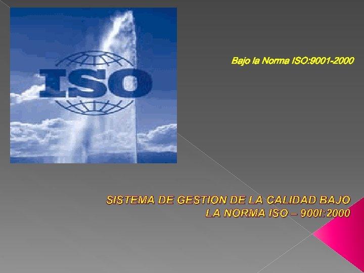 Bajo la Norma ISO: 9001 -2000 SISTEMA DE GESTION DE LA CALIDAD BAJO LA