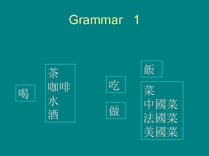 Grammar 1 喝 茶 咖啡 水 酒 飯 吃 做 菜 中國菜 法國菜 美國菜