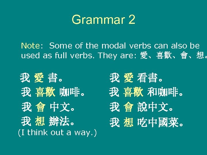 Grammar 2 Note: Some of the modal verbs can also be used as full