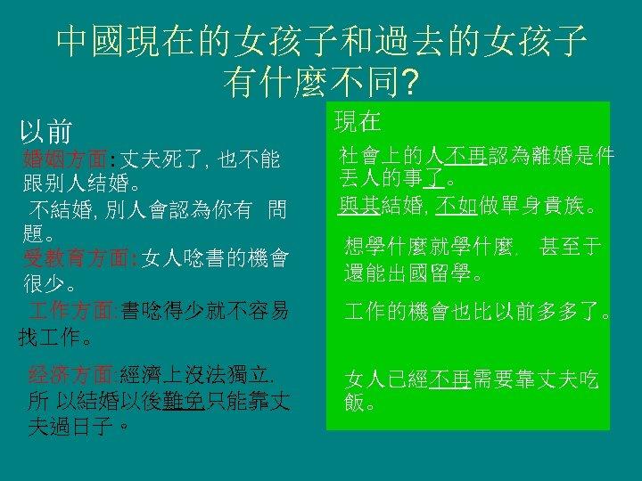 中國現在的女孩子和過去的女孩子 有什麼不同? 以前 婚姻方面: 丈夫死了, 也不能 跟别人结婚。 不結婚, 別人會認為你有 問 題。 受教育方面: 女人唸書的機會 很少。