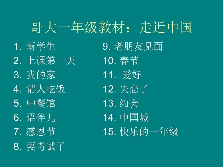 哥大一年级教材:走近中国 1. 2. 3. 4. 5. 6. 7. 8. 新学生 上课第一天 我的家 请人吃饭 中餐馆