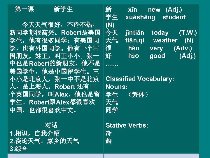 第一课 新学生 今天天气很好,不冷不热, 新同学都很高兴。Robert是美国 学生,他有很多同学:有美国同 学,也有外国同学。他有一个中 国朋友,姓王,叫王小小。张一 中也是Robert的新朋友,他不是 美国学生,他是中国留学生。王 小小是北京人,张一中不是北京 人,是上海人。Robert 还有一 个英国同学,叫Alex,他也是留