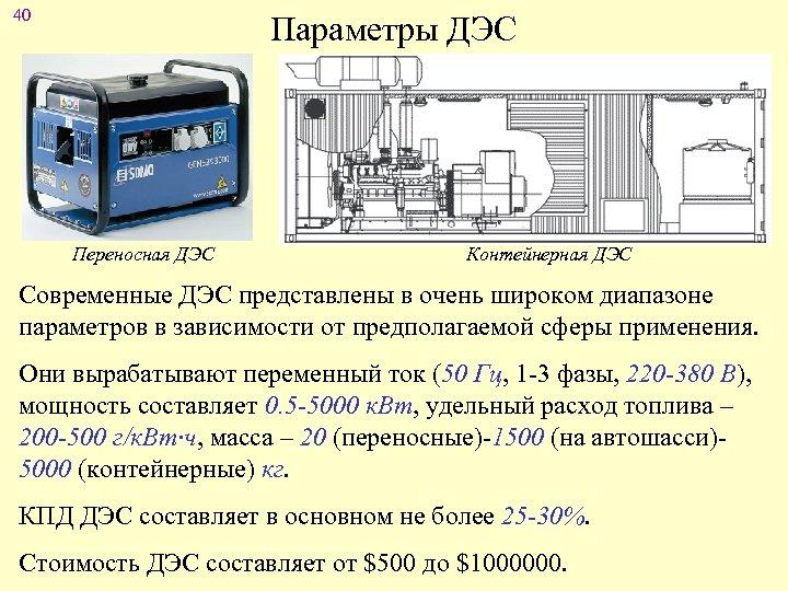 40 Параметры ДЭС Переносная ДЭС Контейнерная ДЭС Современные ДЭС представлены в очень широком диапазоне