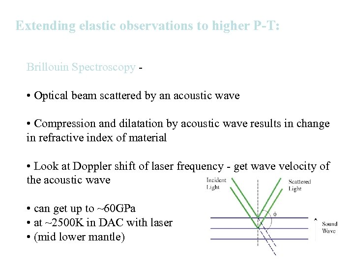 Extending elastic observations to higher P-T: Brillouin Spectroscopy - • Optical beam scattered by