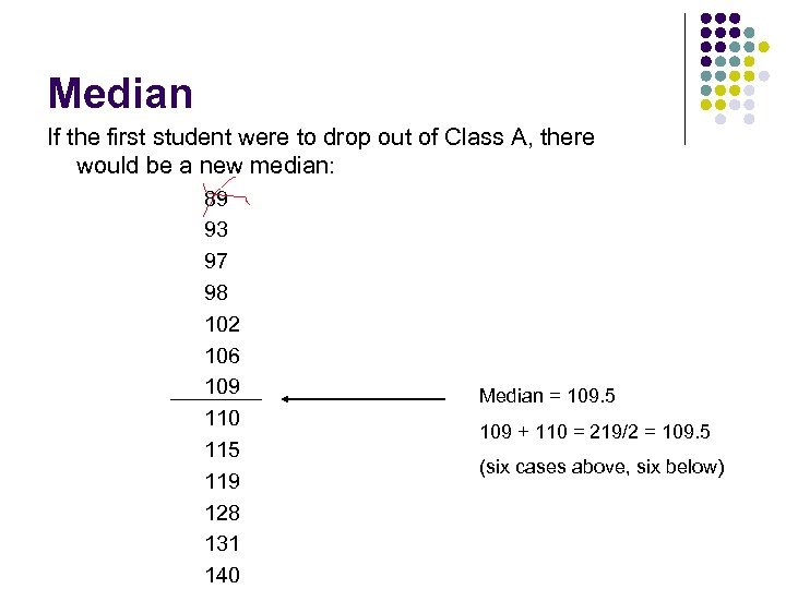 Median If the first student were to drop out of Class A, there would