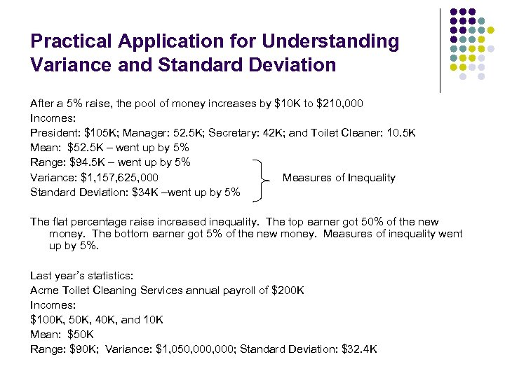 Practical Application for Understanding Variance and Standard Deviation After a 5% raise, the pool