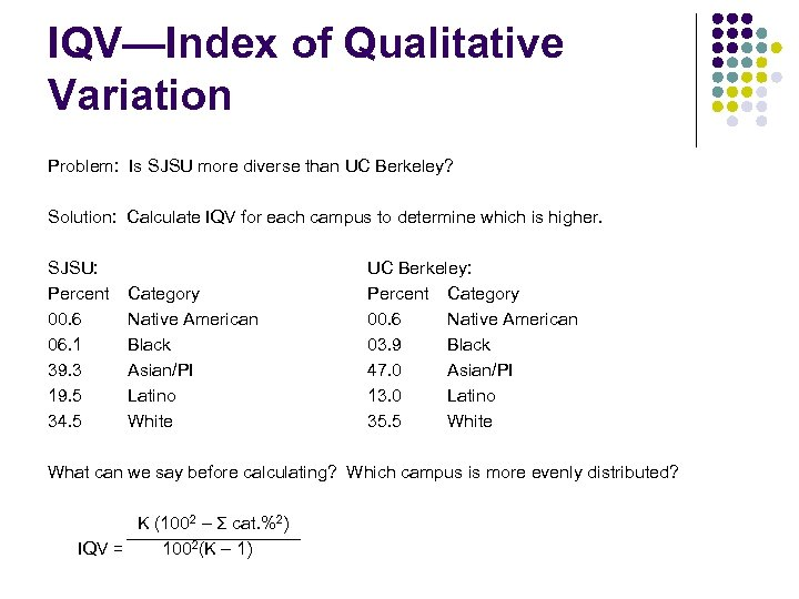 IQV—Index of Qualitative Variation Problem: Is SJSU more diverse than UC Berkeley? Solution: Calculate