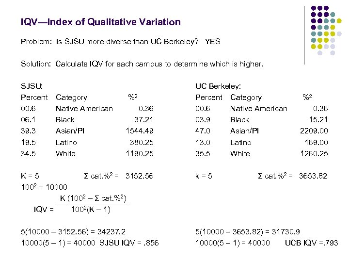 IQV—Index of Qualitative Variation Problem: Is SJSU more diverse than UC Berkeley? YES Solution: