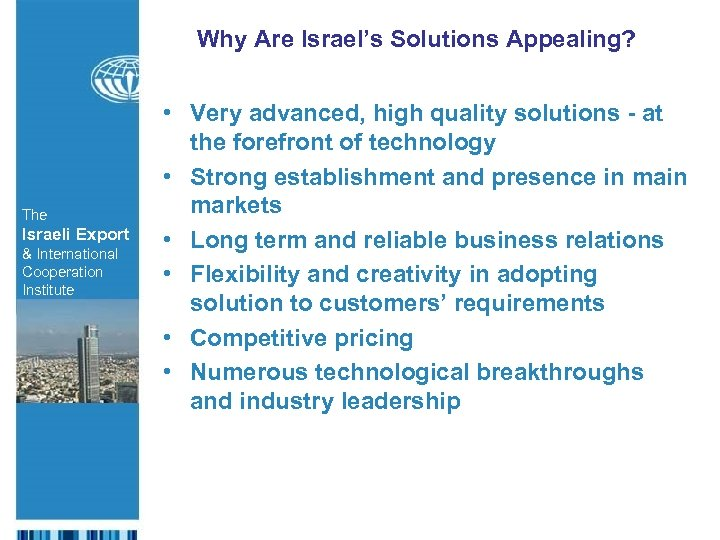 Why Are Israel's Solutions Appealing? The Israeli Export & International Cooperation Institute • Very