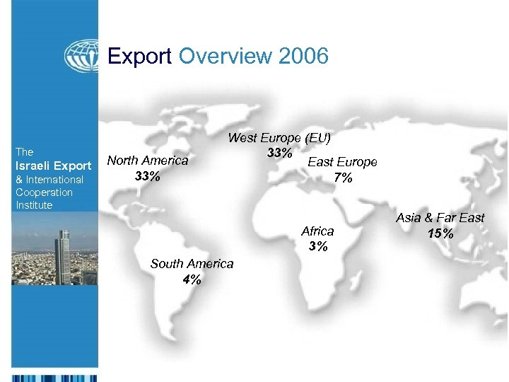 Export Overview 2006 The Israeli Export & International Cooperation Institute North America 33% West