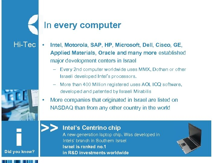 In every computer Hi-Tec • The – Every 2 nd computer worldwide uses MMX,