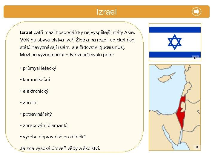 X. Zajímavosti Izrael patří mezi hospodářsky nejvyspělejší státy Asie. Většinu obyvatelstva tvoří Židé a