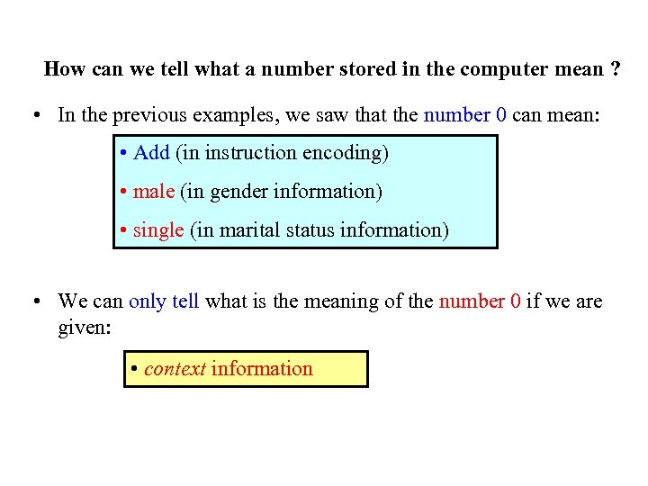 How can we tell what a number stored in the computer mean ? •