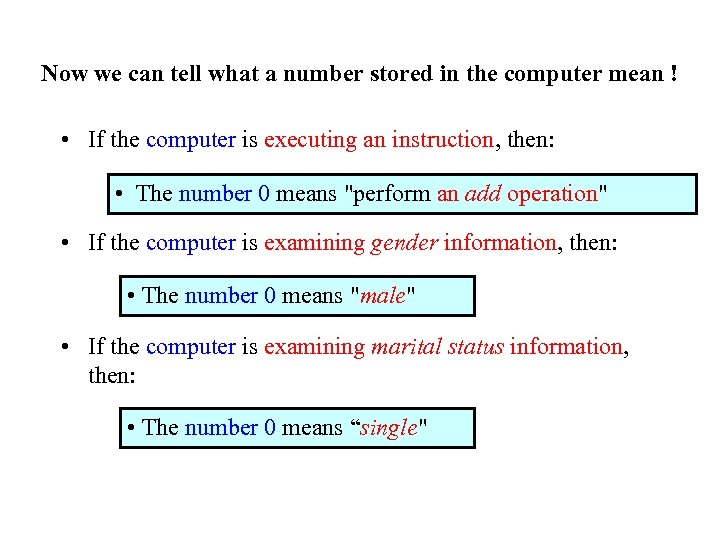 Now we can tell what a number stored in the computer mean ! •