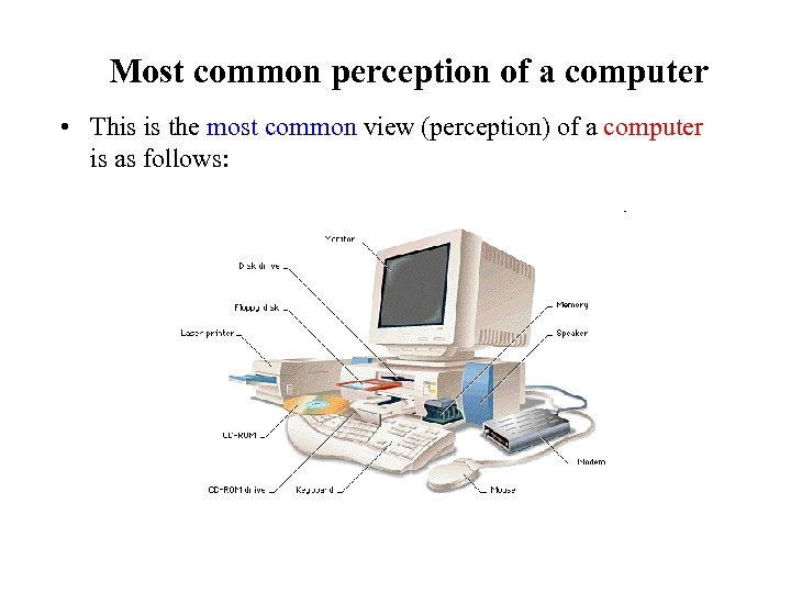 Most common perception of a computer • This is the most common view (perception)