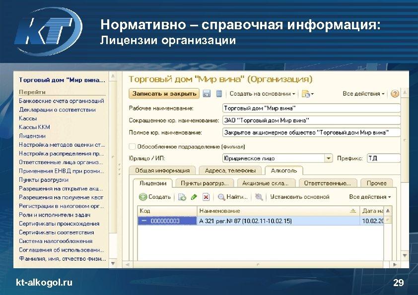 Нормативно – справочная информация: Лицензии организации kt-alkogol. ru 29