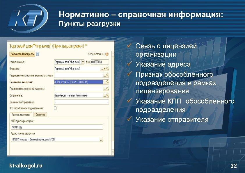 Нормативно – справочная информация: Пункты разгрузки ü Связь с лицензией организации ü Указание адреса