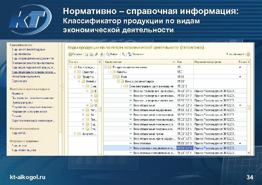 Нормативно – справочная информация: Классификатор продукции по видам экономической деятельности kt-alkogol. ru 34