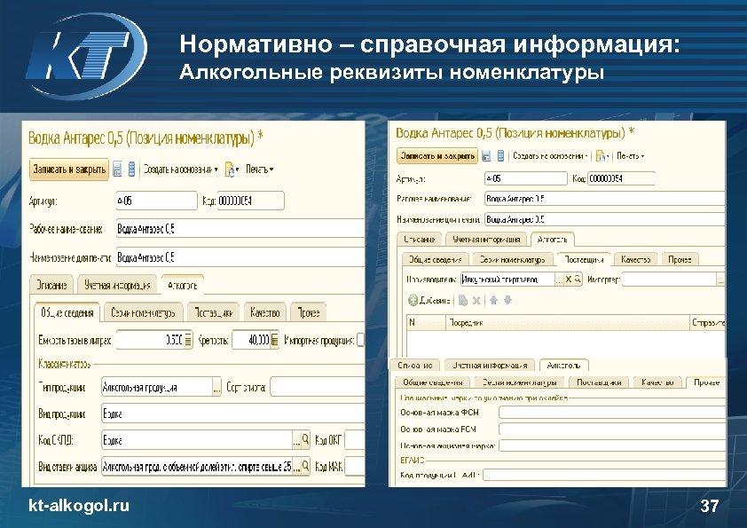 Нормативно – справочная информация: Алкогольные реквизиты номенклатуры kt-alkogol. ru 37