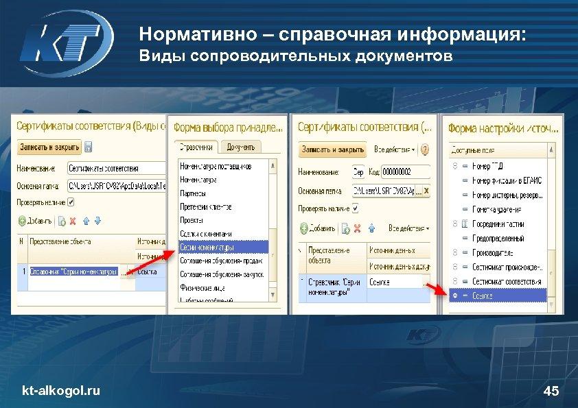 Нормативно – справочная информация: Виды сопроводительных документов kt-alkogol. ru 45