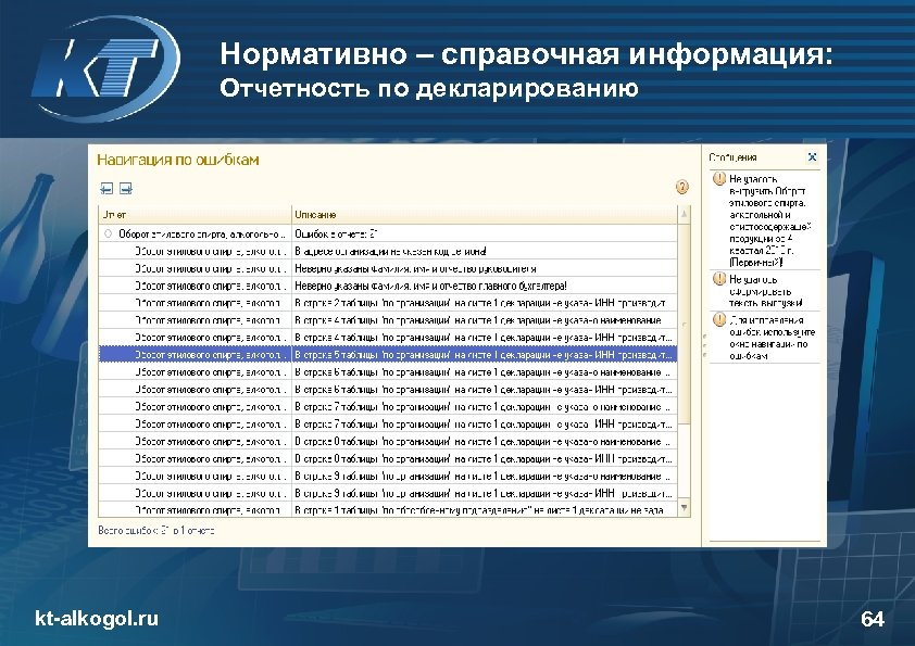 Нормативно – справочная информация: Отчетность по декларированию kt-alkogol. ru 64
