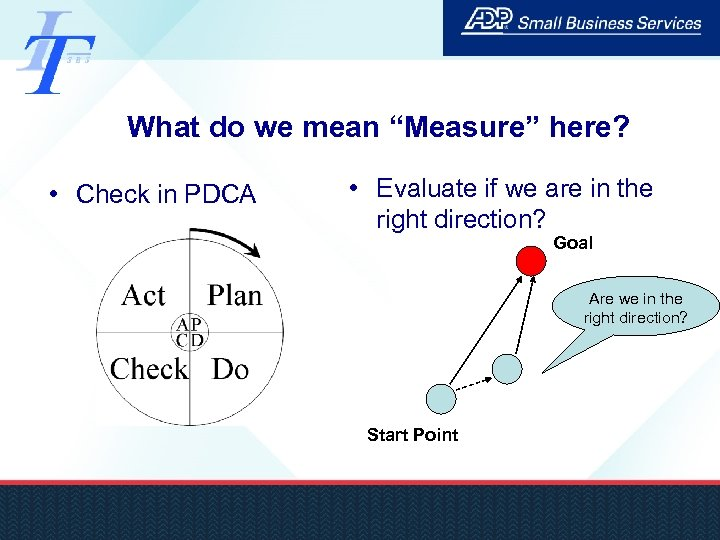 """What do we mean """"Measure"""" here? • Check in PDCA • Evaluate if we"""