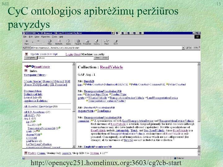 MII Cy. C ontologijos apibrėžimų peržiūros pavyzdys http: //opencyc 251. homelinux. org: 3603/cg? cb-start