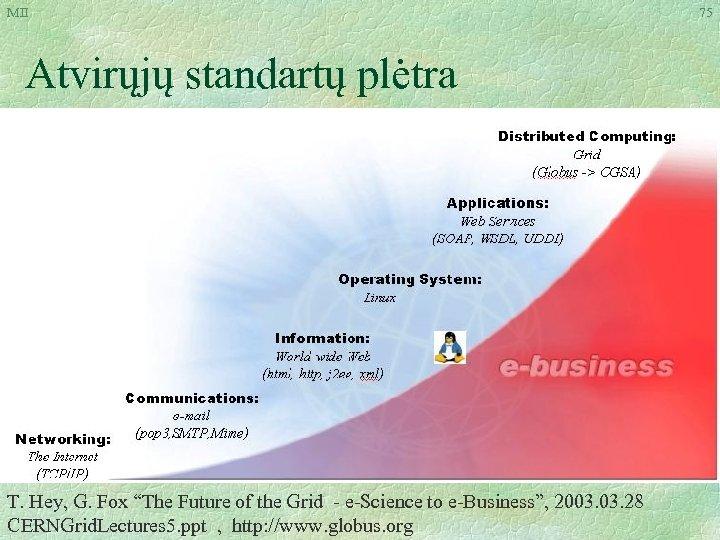 """MII Atvirųjų standartų plėtra T. Hey, G. Fox """"The Future of the Grid -"""