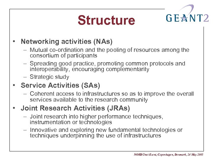 Structure • Networking activities (NAs) – Mutual co-ordination and the pooling of resources among