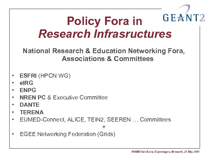 Policy Fora in Research Infrasructures National Research & Education Networking Fora, Associations & Committees