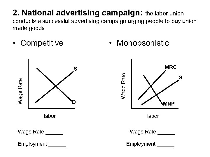2. National advertising campaign: the labor union conducts a successful advertising campaign urging people