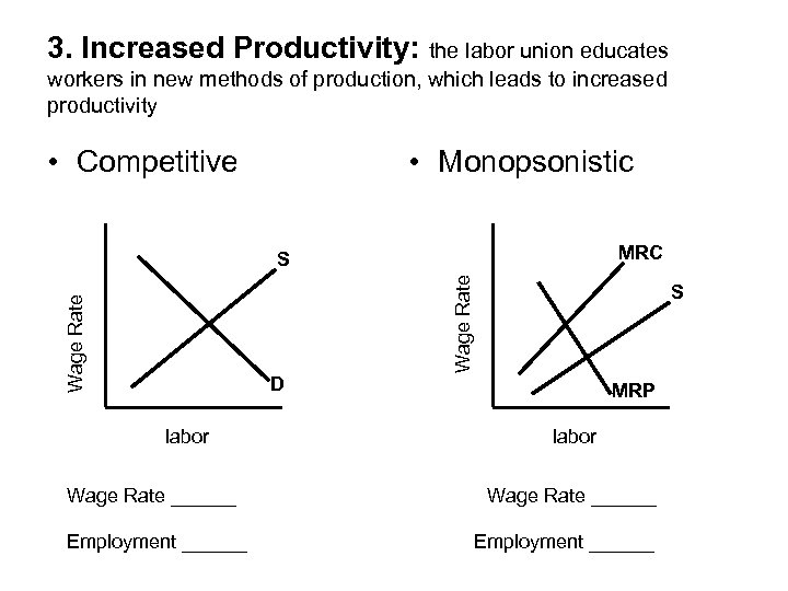 3. Increased Productivity: the labor union educates workers in new methods of production, which