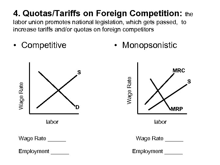 4. Quotas/Tariffs on Foreign Competition: the labor union promotes national legislation, which gets passed,