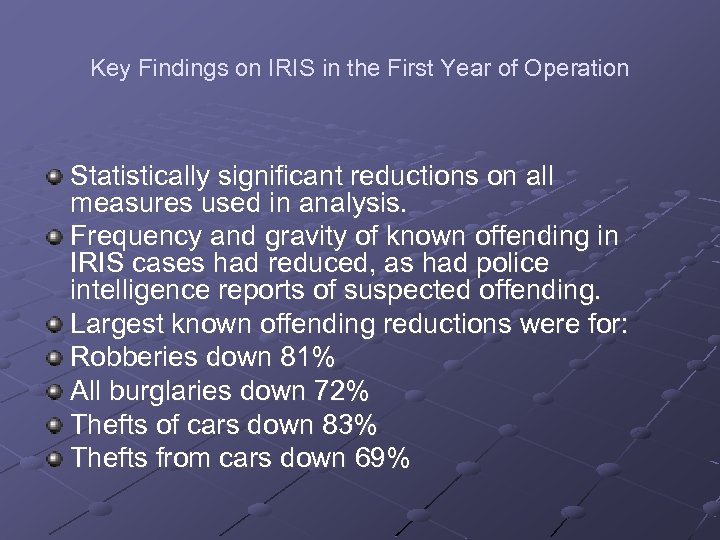 Key Findings on IRIS in the First Year of Operation Statistically significant reductions on