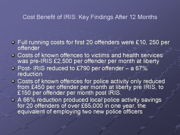 Cost Benefit of IRIS: Key Findings After 12 Months Full running costs for first