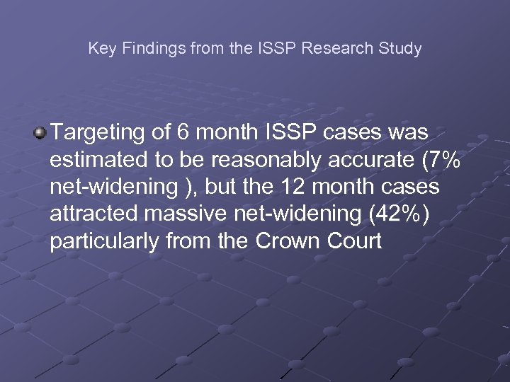 Key Findings from the ISSP Research Study Targeting of 6 month ISSP cases was