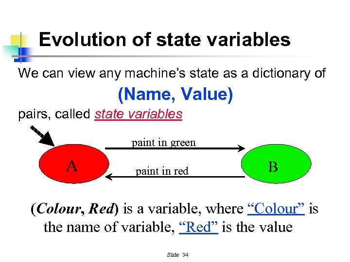 Evolution of state variables We can view any machine's state as a dictionary of