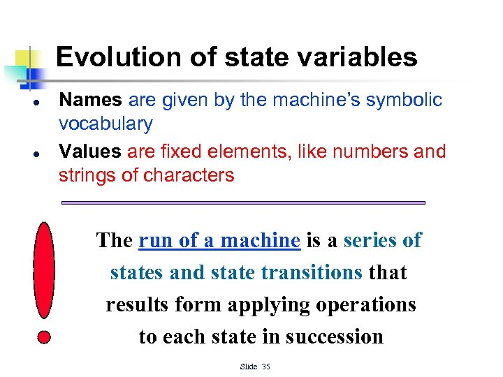 Evolution of state variables l l Names are given by the machine's symbolic vocabulary