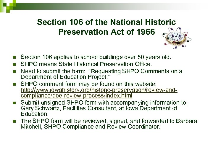 Section 106 of the National Historic Preservation Act of 1966 n n n Section