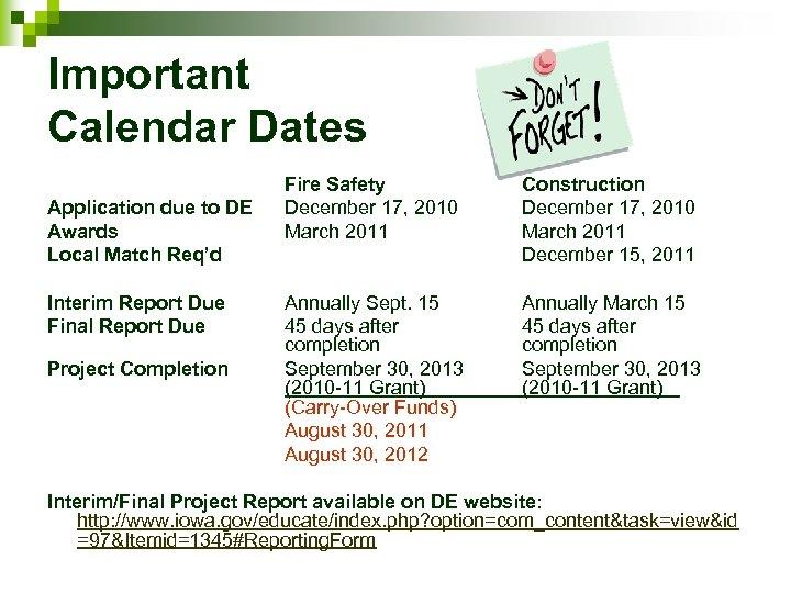 Important Calendar Dates Application due to DE Awards Local Match Req'd Interim Report Due