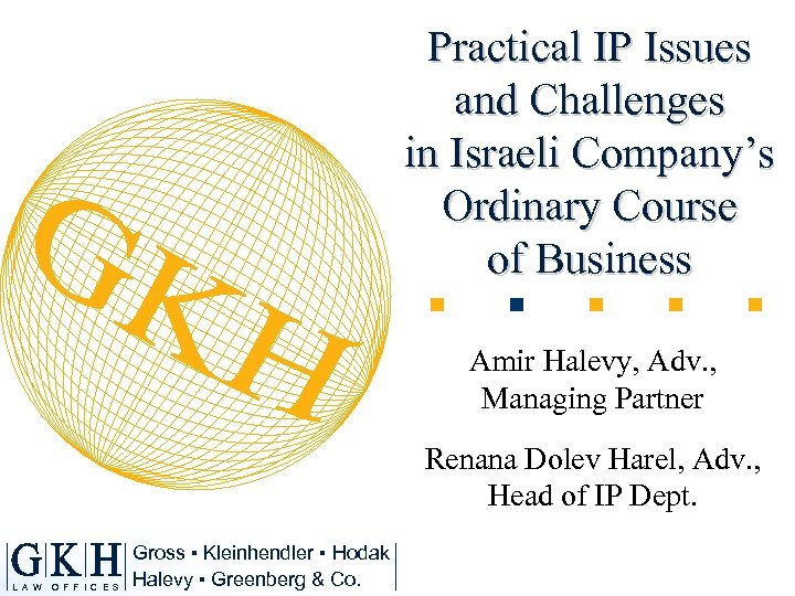 Practical IP Issues and Challenges in Israeli Company's Ordinary Course of Business Amir Halevy,
