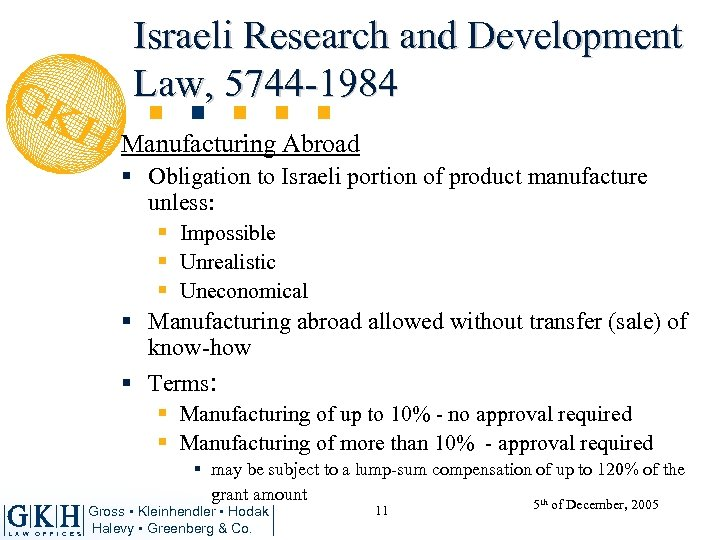 Israeli Research and Development Law, 5744 -1984 Manufacturing Abroad § Obligation to Israeli portion