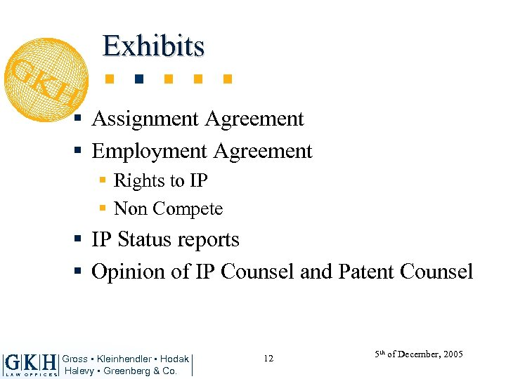 Exhibits § Assignment Agreement § Employment Agreement § Rights to IP § Non Compete