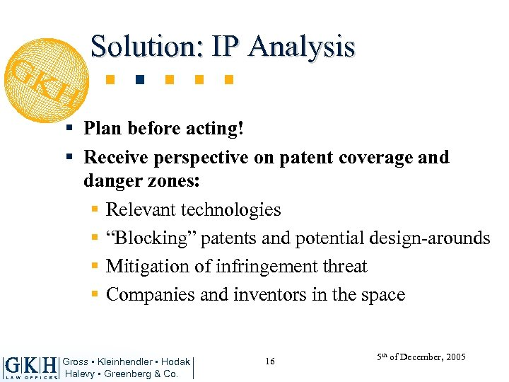 Solution: IP Analysis § Plan before acting! § Receive perspective on patent coverage and