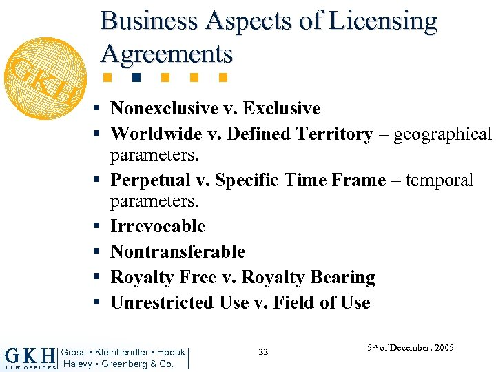 Business Aspects of Licensing Agreements § Nonexclusive v. Exclusive § Worldwide v. Defined Territory
